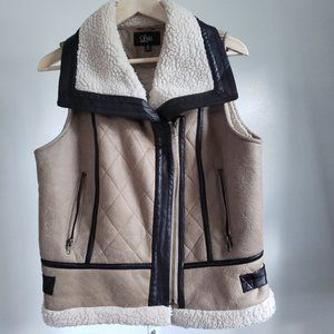 Luii faux leather two-tone brown vest size M